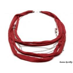 Dlouhý náhrdelník - řetízek s červeným úpletem