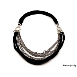 Dlouhý náhrdelník - řetízek s černým úpletem