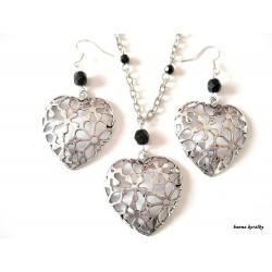 Řetízek a náušnice - platinové srdce