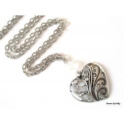 Náhrdelník - srdce s bílými kamínky
