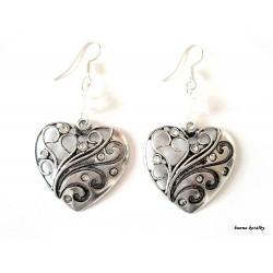 Náušnice - srdce s bílými kamínky