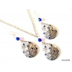 Řetízek a náušnice - kapka  s modrými kamínky