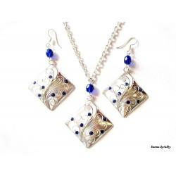 Řetízek a náušnice - kosočtverec s modrými kamínky