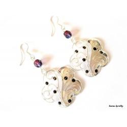Náušnice - květy s fialovými kamínky