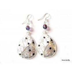 náušnice - kapka  s fialovými kamínky