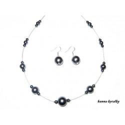antracitová souprava - náhrdelník a náušnice