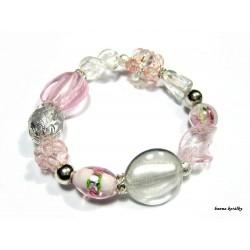 Růžový náramek nejen z vinutých perel I.