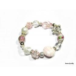 Růžový náramek nejen z vinutých perel II.