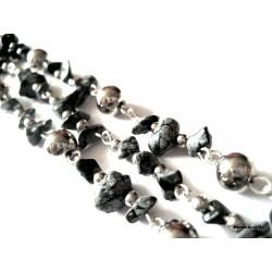 Náramek v kombinaci s minerálem - obsidián