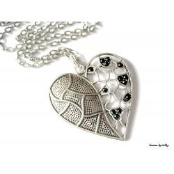 Řetízek - starostříbrné  srdce - srdíčko