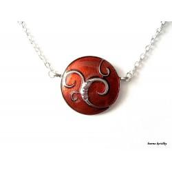 Řetízek - červený medailon