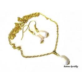 Řetízek a náušnice - říční perly