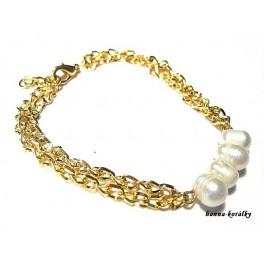Náramek - řetízek s řadou říčních perel