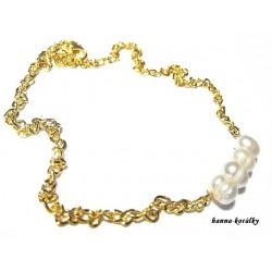 Náhrdelník - řetízek s řadou říčních perel