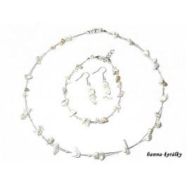 Souprava smetanová - náhrdelník  náušnice a náramek