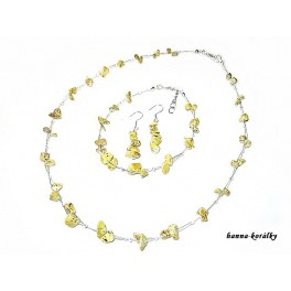 Souprava žlutá  - náhrdelník  náušnice a náramek