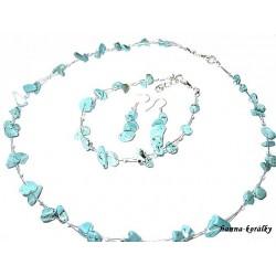 Souprava tyrkysová - náhrdelník náušnice a náramek