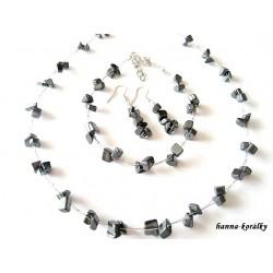 Souprava antracitová - náhrdelník náušnice a náramek