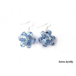 Náušnice z modrých šitých kuliček