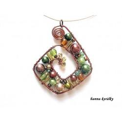 Souprava - zelený náhrdelník a náušnice