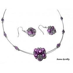 Fialová souprava - náhrdelník a náušnice