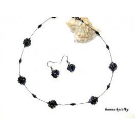 Černá elegantní souprava - náhrdelník a náušnice
