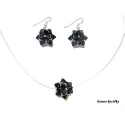 Černá souprava - náhrdelník a náušnice z šitých kuliček