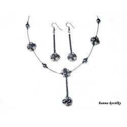 Souprava - antracitový náhrdelník a náušnice