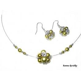 Zelená souprava - náhrdelník a náušnice