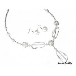 Souprava - bílý náhrdelník a náušnice