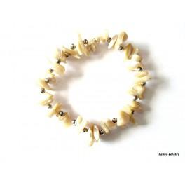 Pružný náramek - hnědá perleť