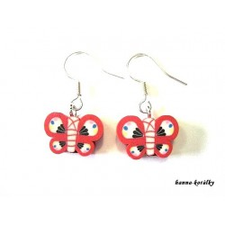 Náušnice - červený motýlek