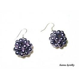 Náušnice - fialové šité kuličky