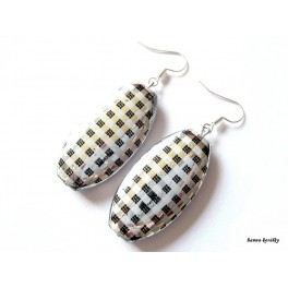 Náušnice - stříbrné kárované oválné placky