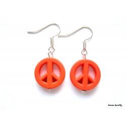 Náušnice - neonové oranžové peace