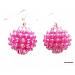 Náušnice - růžové maliny