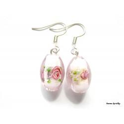 Náušnice - růžové vinutky - vinuté perle
