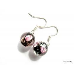 Náušnice - černé vinutky - vinuté perle