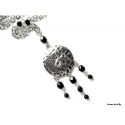 Náhrdelník - řetízek - kapka s černými korálky