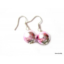 Náušnice - stříbrno růžové kuličky