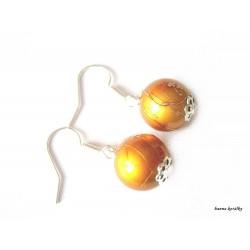 Náušnice 29 - žluto oranžové kuličky