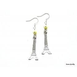 Náušnice Eiffelovky se žlutým korálkem