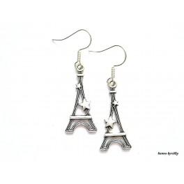 Náušnice - starostříbrné Eiffelovky
