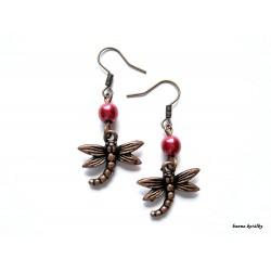 Náušnice - měděné vážky s čirým korálkem