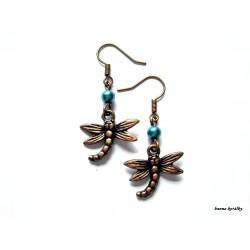 Náušnice - měděné vážky s hnědý korálkem