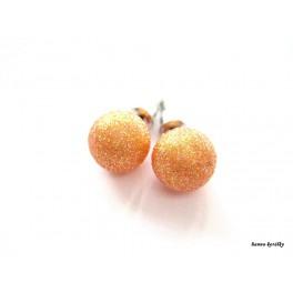 Náušnice - puzetky - oranžové kuličky