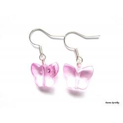 Náušnice - růžový motýlek