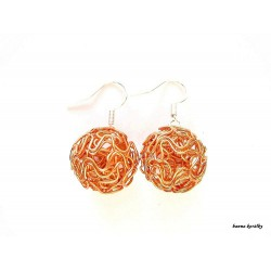 Náušnice oranžové drátkované kuličky