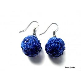 Náušnice modré drátkované kuličky