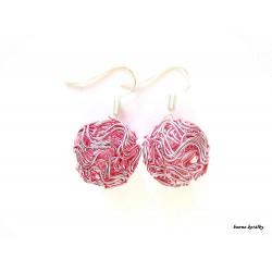 Náušnice světle růžové drátkované kuličky